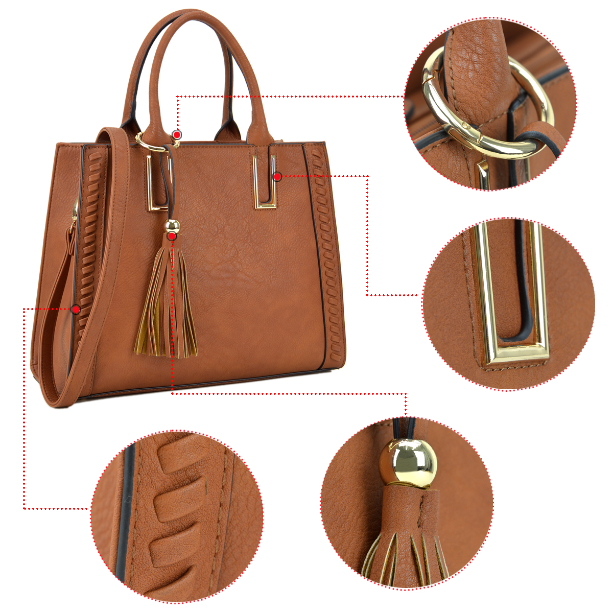 Dasein Faux Leather Satchel with Weave Design on both sides and Tassel Deco