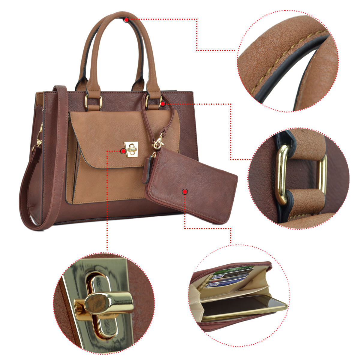 Dasein Faux Leather Satchel with Exterior Front Twist Lock Pocket and Matching Wallet