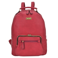Dasein Faux Leather Backpack with Front Twist Lock pocket and mini zipped pocket