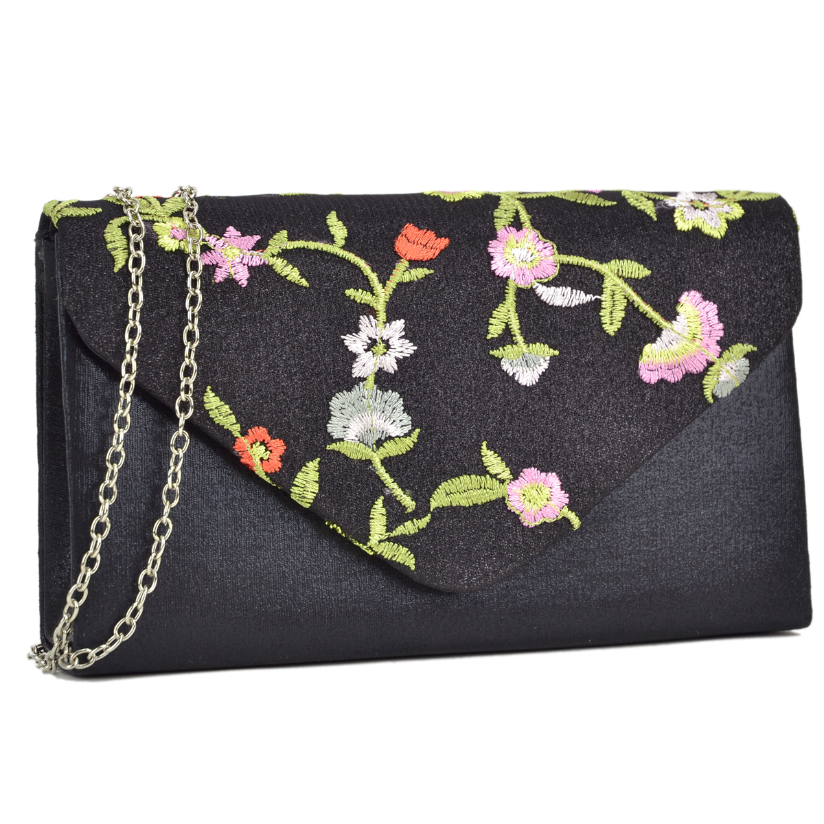 Velvety Frosted Evening Clutch with Flower Patch Design
