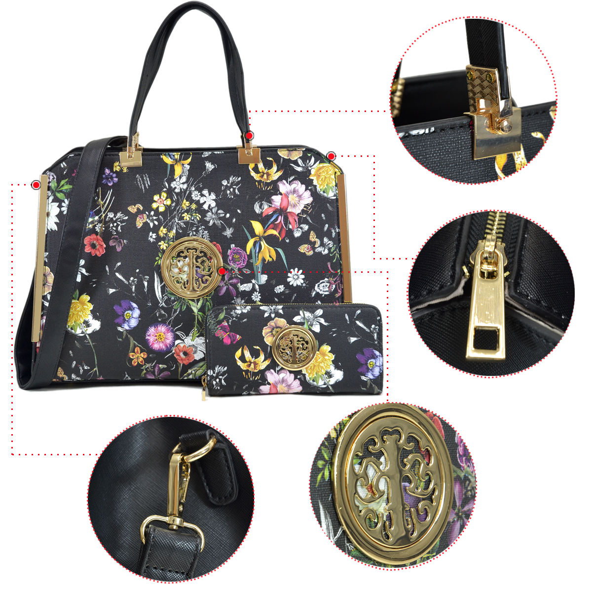 Dasein Flower Pattern Faux Leather Briefcase with Matching Wallet