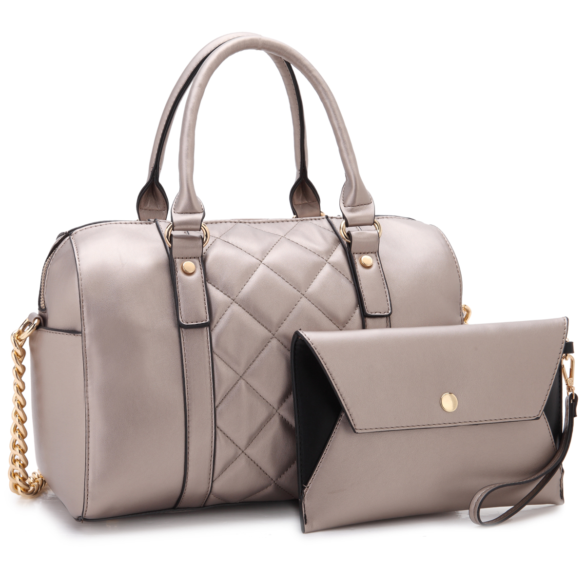 Dasein Leather Satchel, Quilted Design, and with Matching Wristlet