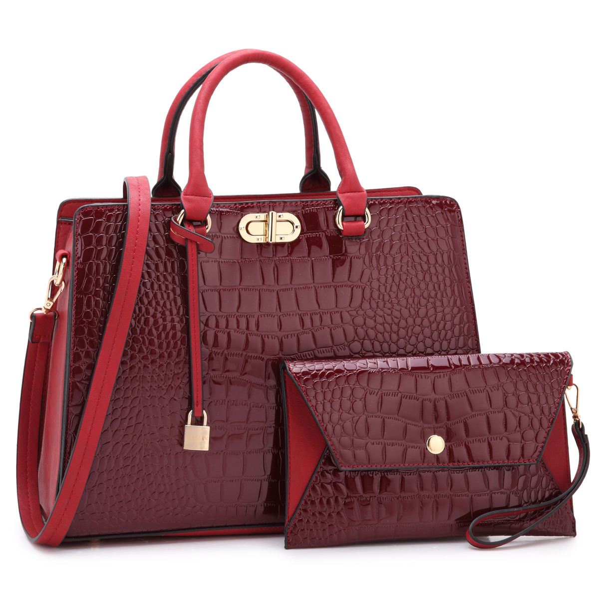 Dasein Croco Leather Satchel with Twist Lock  Front Compartment, Dangling Padlock deco, and with Matching Wristlet