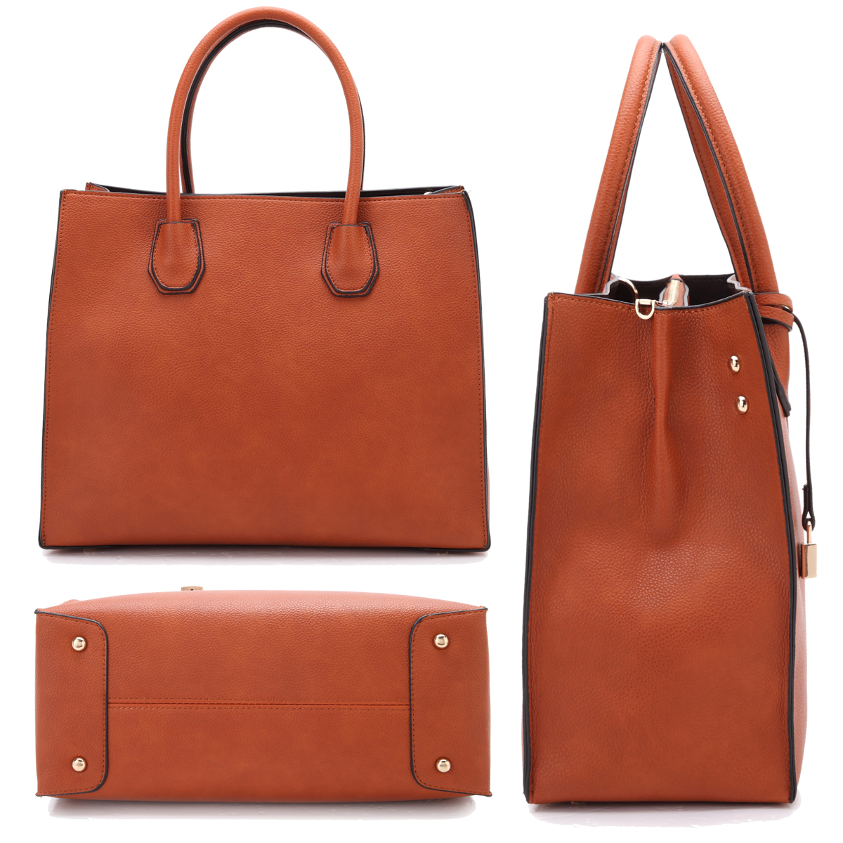 Dasein Medium Satchel with  Hanging Padlock Deco and Matching Wristlet