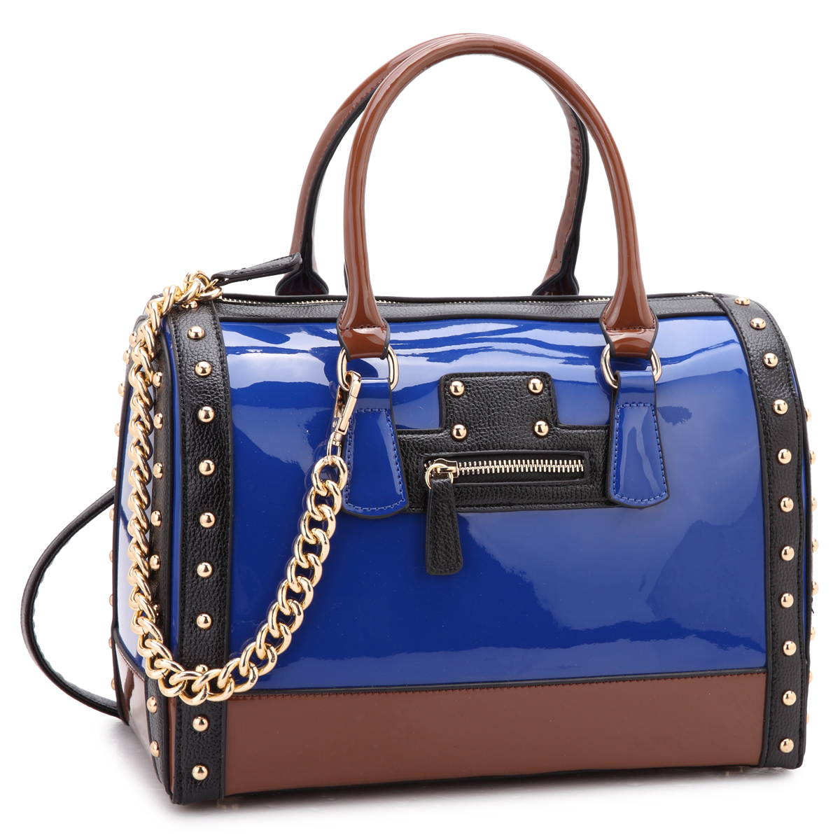 Dasein® Patent Faux Leather Barrel Body Satchel