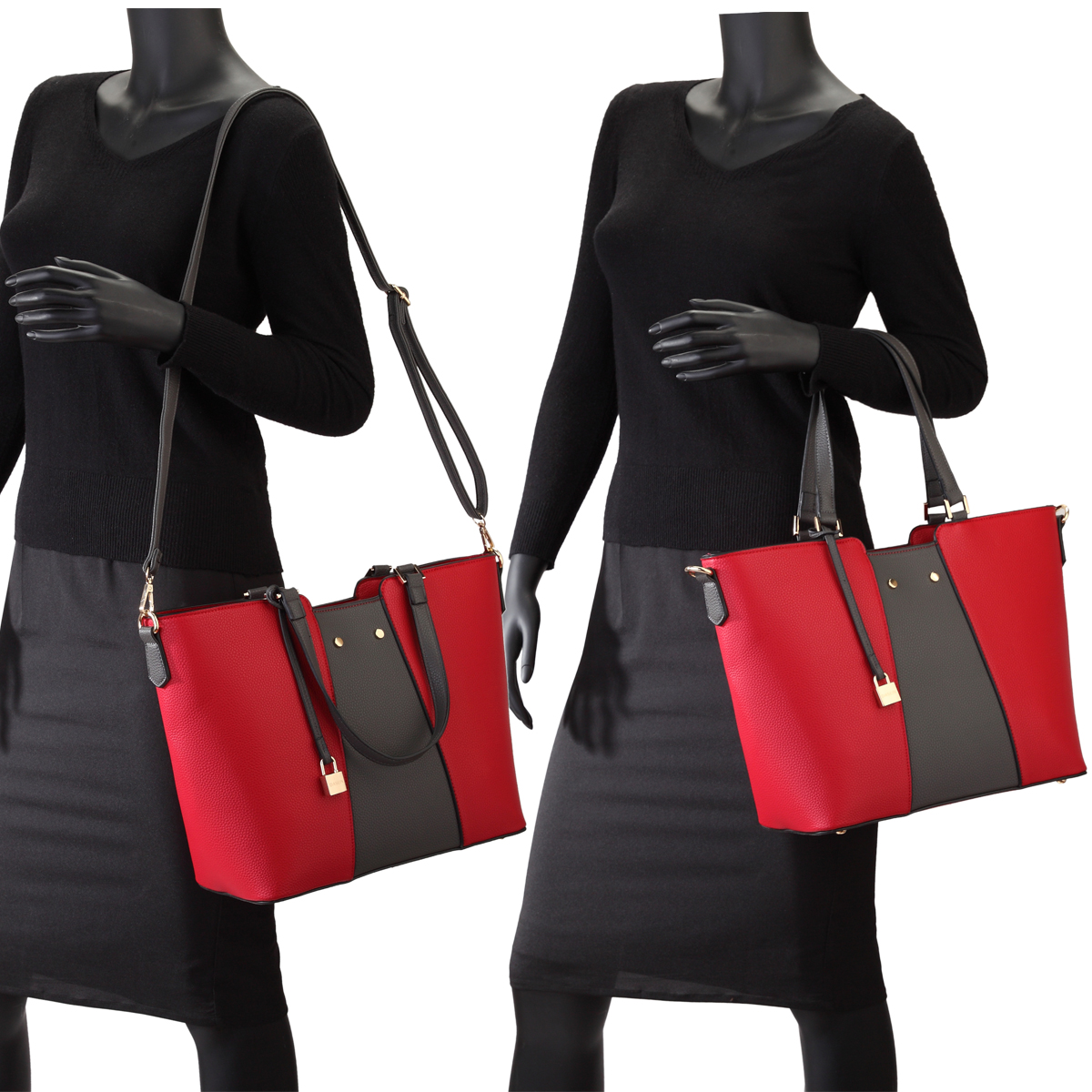 Dasein Faux Leather Satchel/Tote with Matching Wristlet