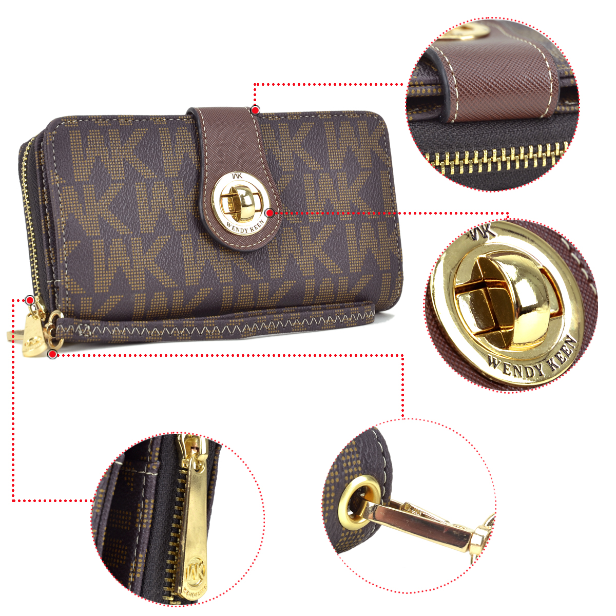 Wendy Keen Monogram Logo Double layer Zip Around and Twist lock Wallet