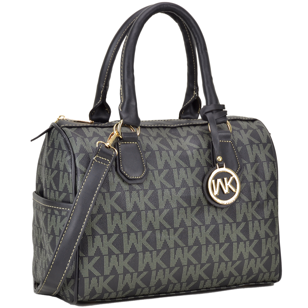 Monogram Imprint Faux Leather Medium Satchel with two side pockets