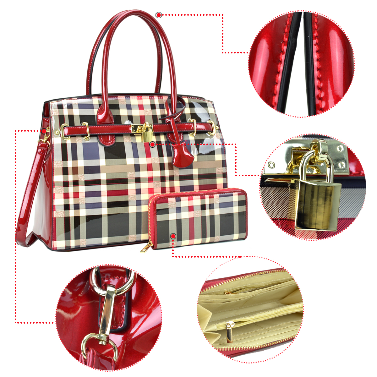 Plaid Design Patent Leather Medium Satchel with padlock deco plus  Matching Wallet