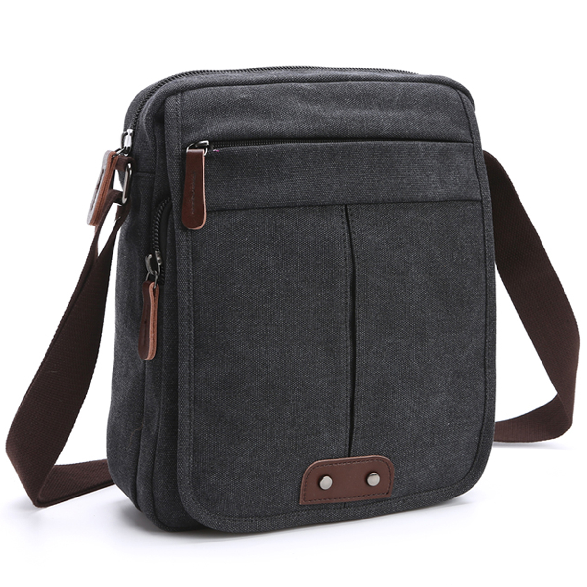 Dasein Vintage Unisex Canvas Messenger Bag/Cross body with Front Snap Flap