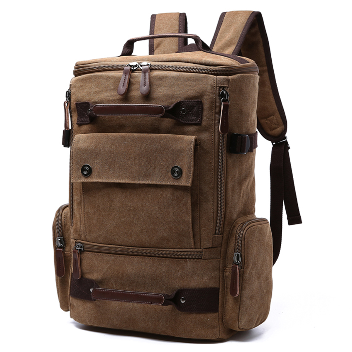 Dasein Vintage Unisex Canvas Backpack- School, Office, Weekend, Travel, Hiking Rucksack