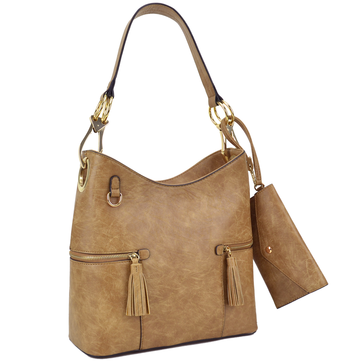 Dasein Classic Hobo Bag with Side Tassel zipped pockets and with Matching Wristlet