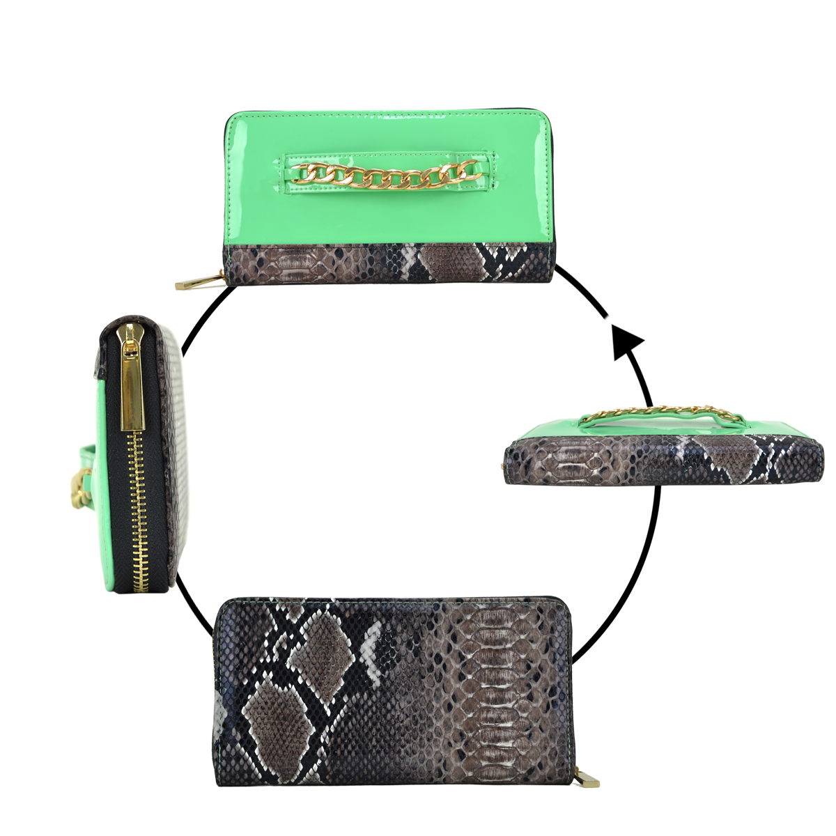 Gold-Tone Chain Faux Leather + Snake Skin Zip Around Wallet