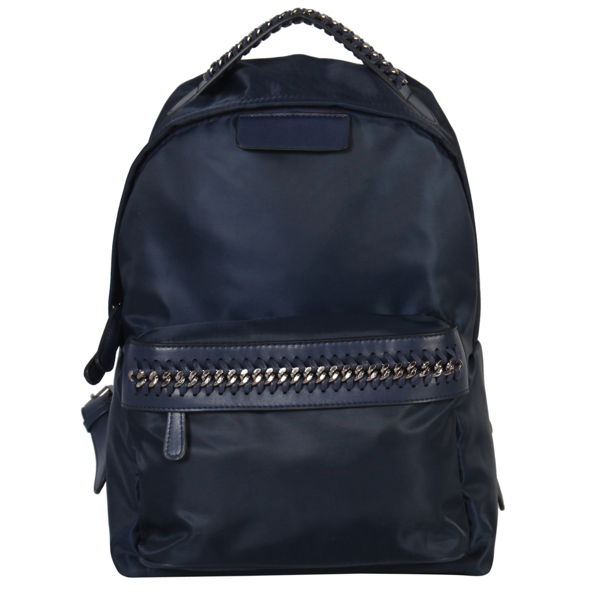 Nylon Material Medium size Backpack with weaved chain belted deco in front
