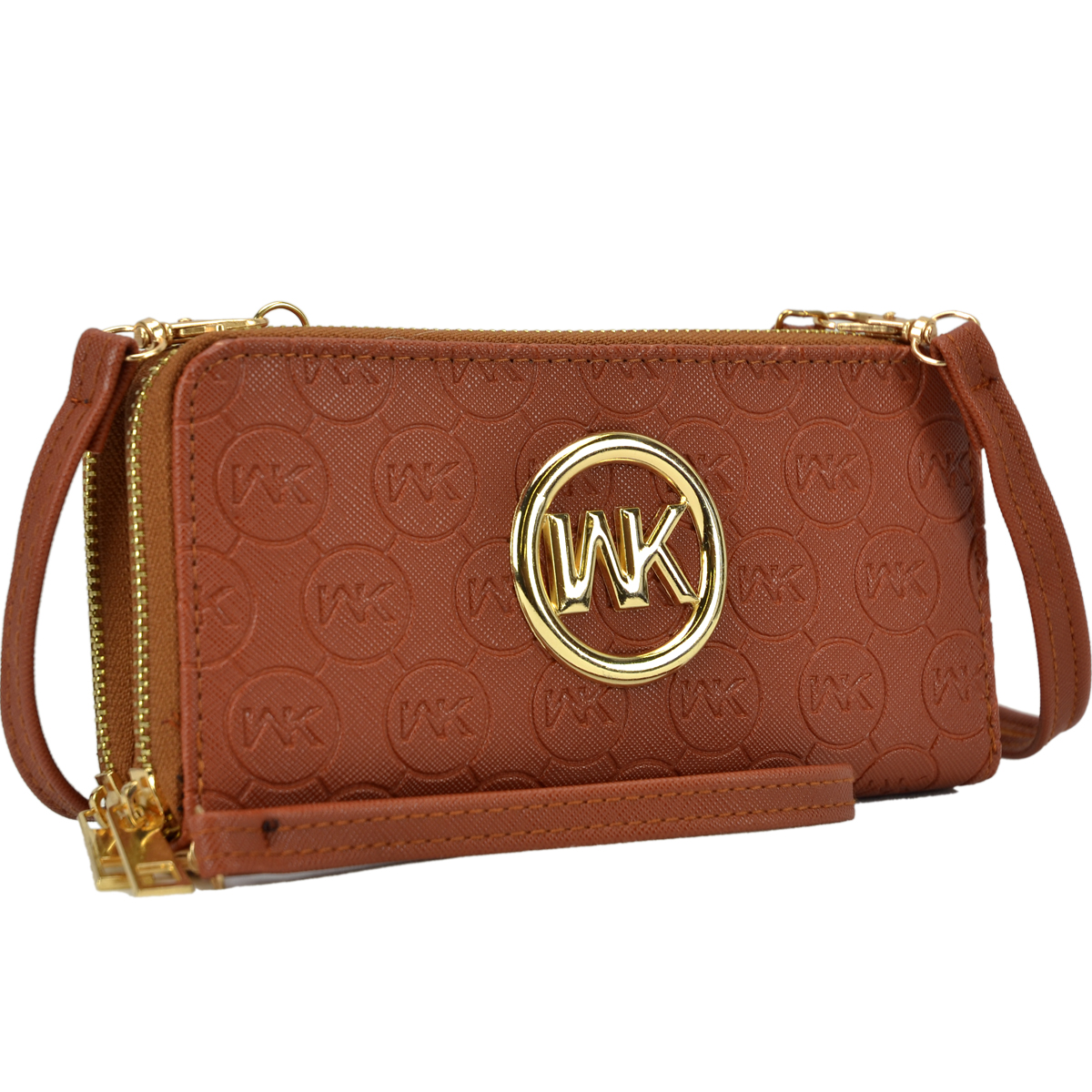 Monogram Logo Emblem Double layer Zip Around Wallet with Shoulder and Wristlet Strap