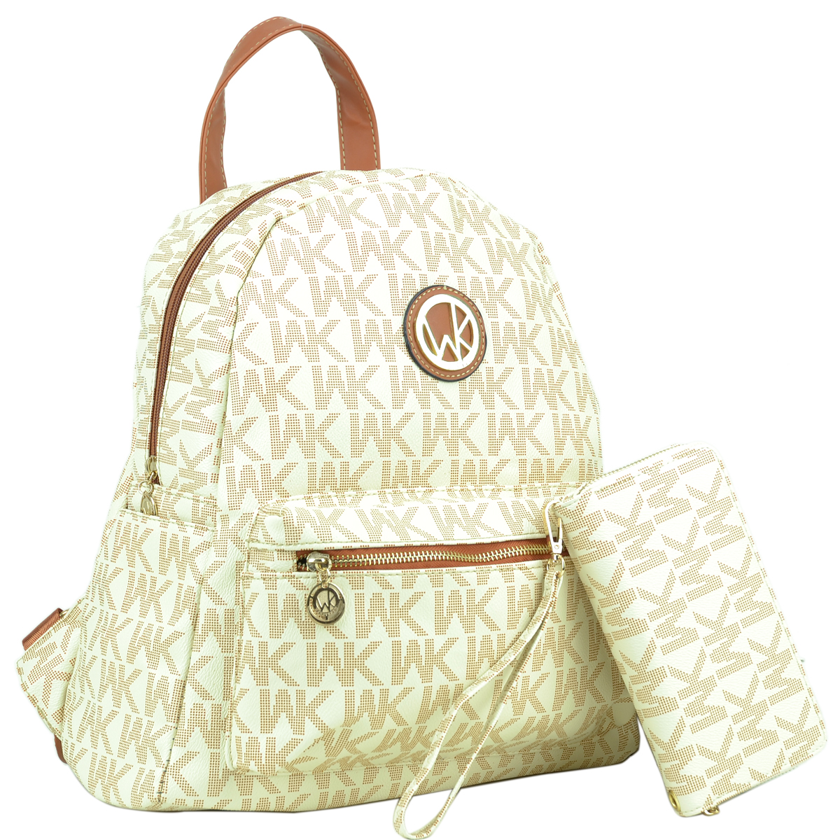 Wendy Keen Monogram Medium Faux Leather Backpack with Front Zipped Pocket