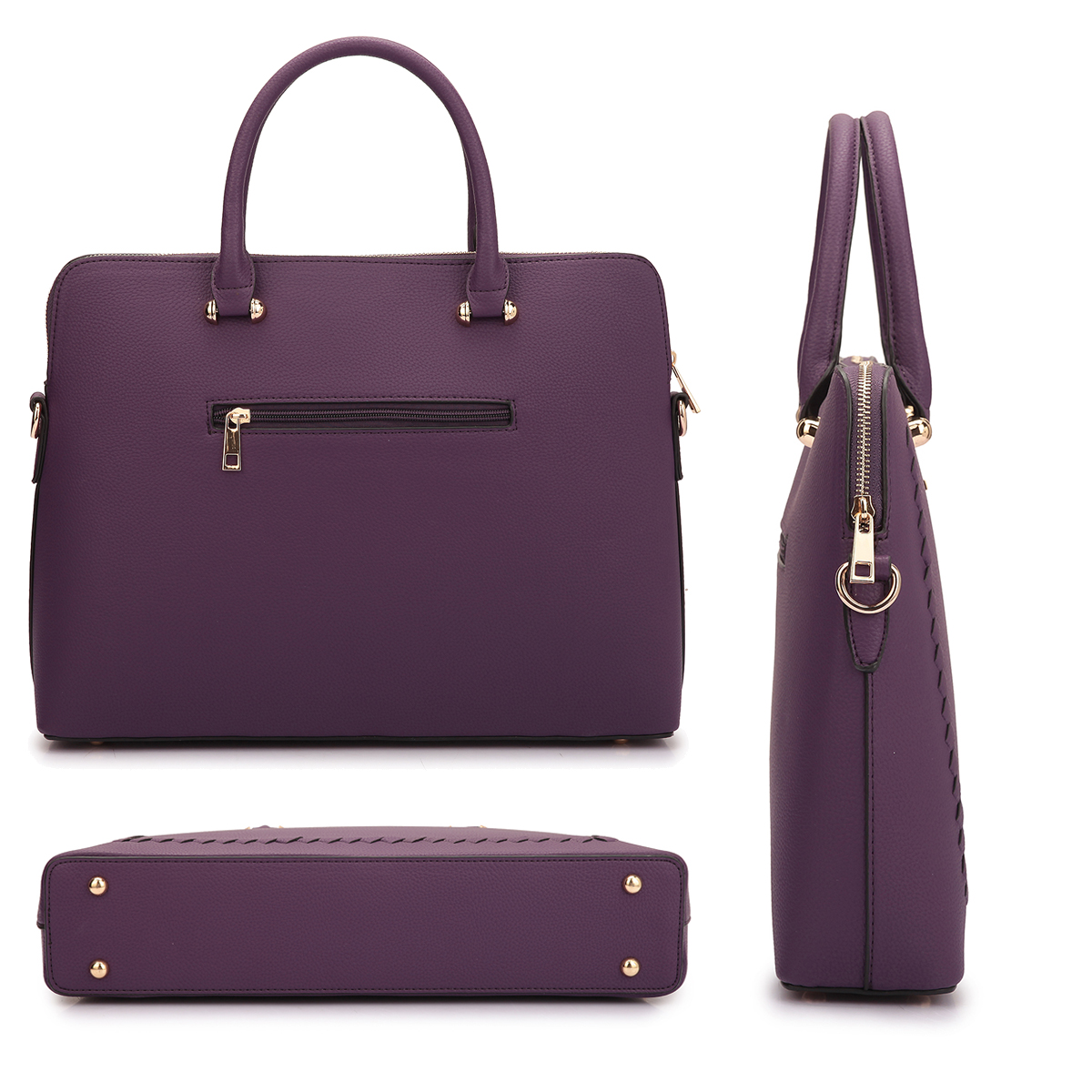 Dasein Briefcase For Her- with Stitching Design in Front