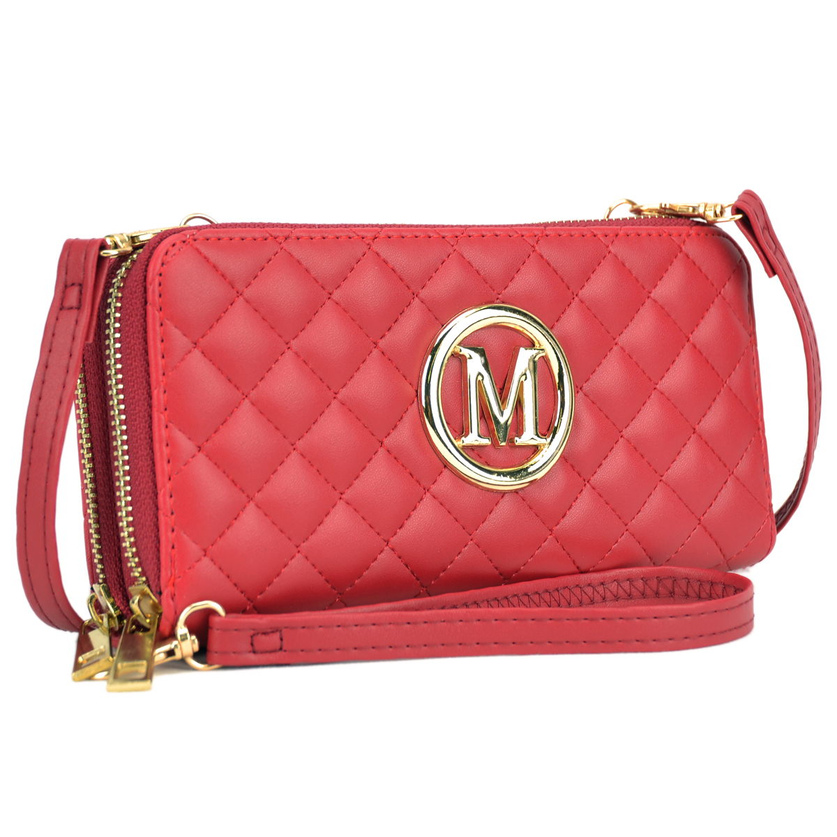 Soft Quilted Emblem Double layer Zip Around Wallet with Shoulder and Wristlet Strap