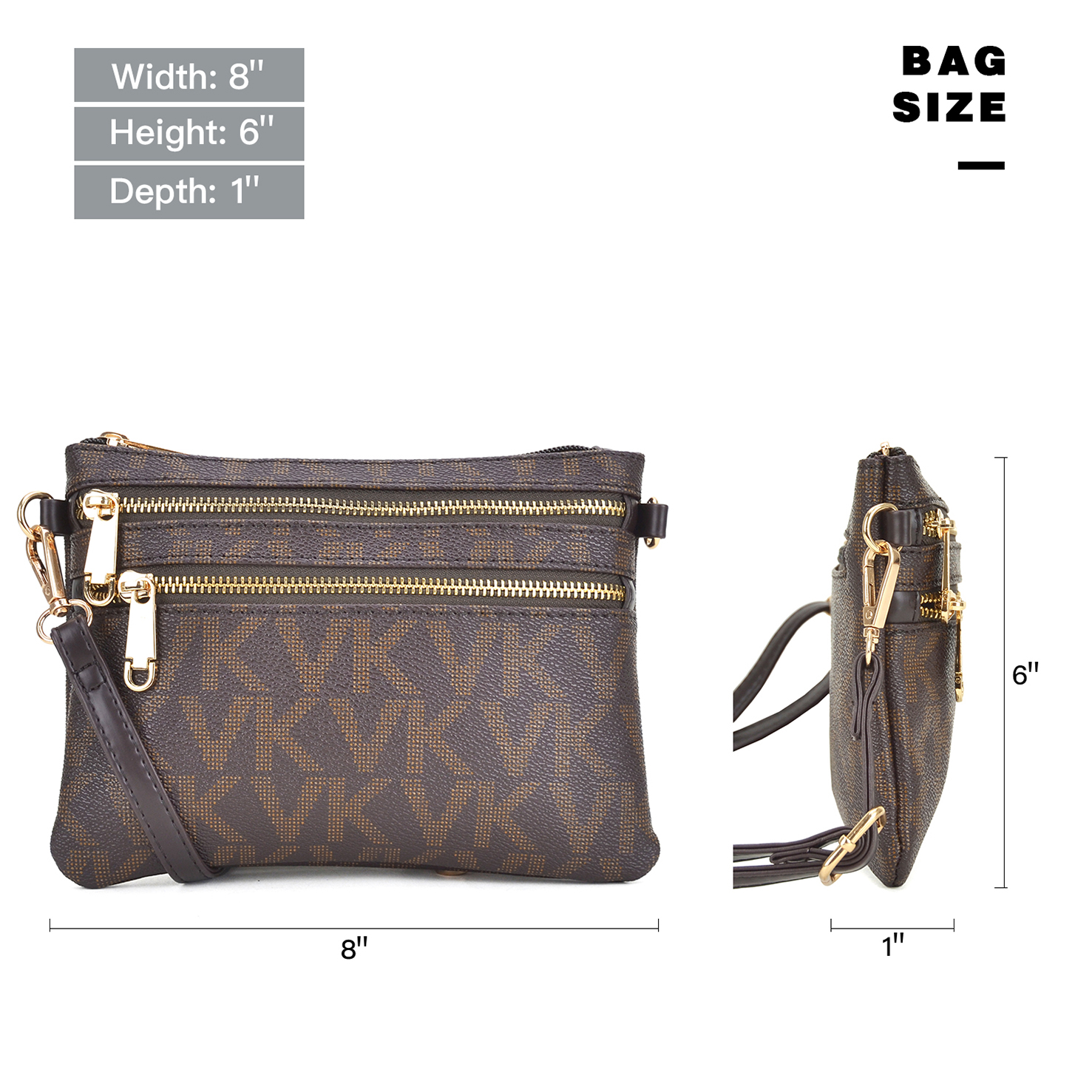 All-In-One Monogram Soft Faux Leather Crossbody/ Messenger Clutch Bag