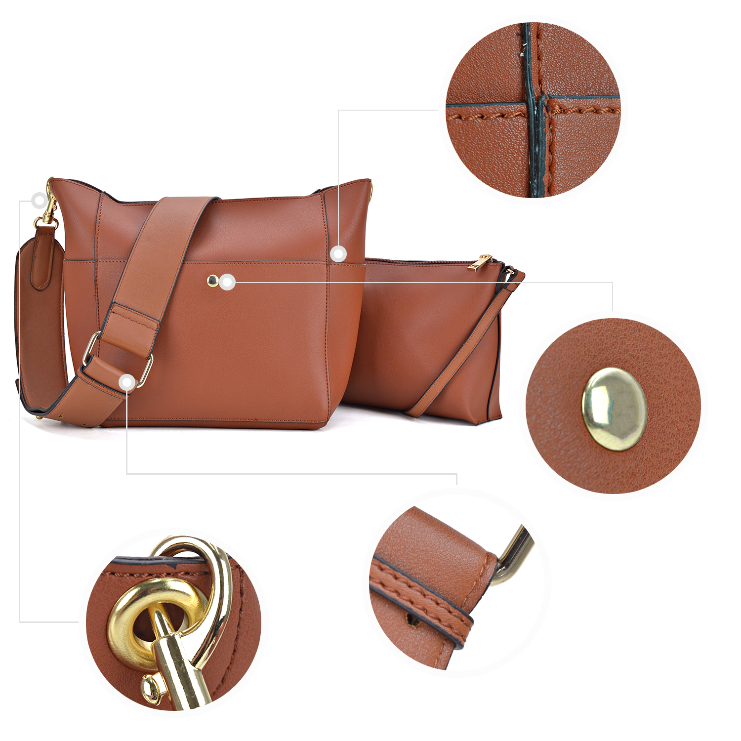 3-in-1 Faux Leather Mini Satchel/ Crossbody/Messenger Bag with Front Twist lock deco, matching pouch and dangling coin  pouch