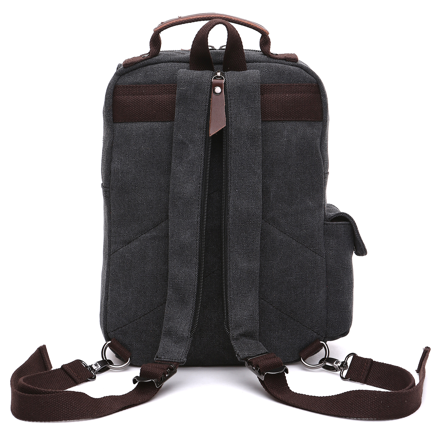 Dasein Vintage Unisex Canvas Backpack- School, Office, Weekend, Travel, Hiking Rucksack-Double strap