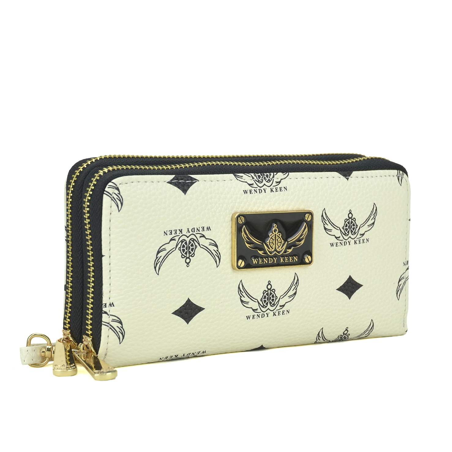 Wendy Keen Monogram Logo Double layer Zipped Around Wallet