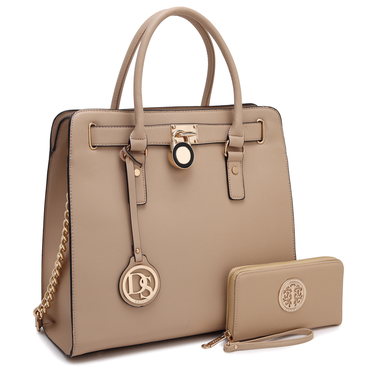 Dasein Large Saffiano Leather Satchel with Matching Wallet