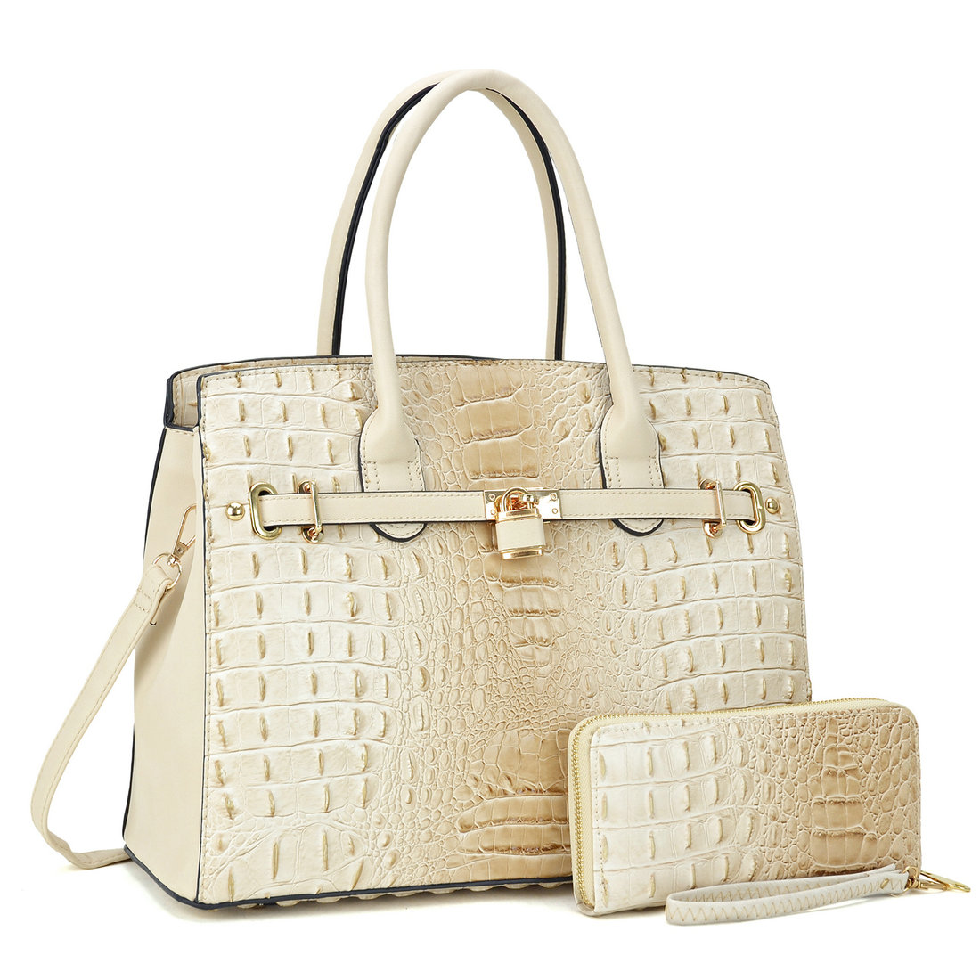 Ostrich and Croco Embossed Satchel with Padlock with Matching wallet