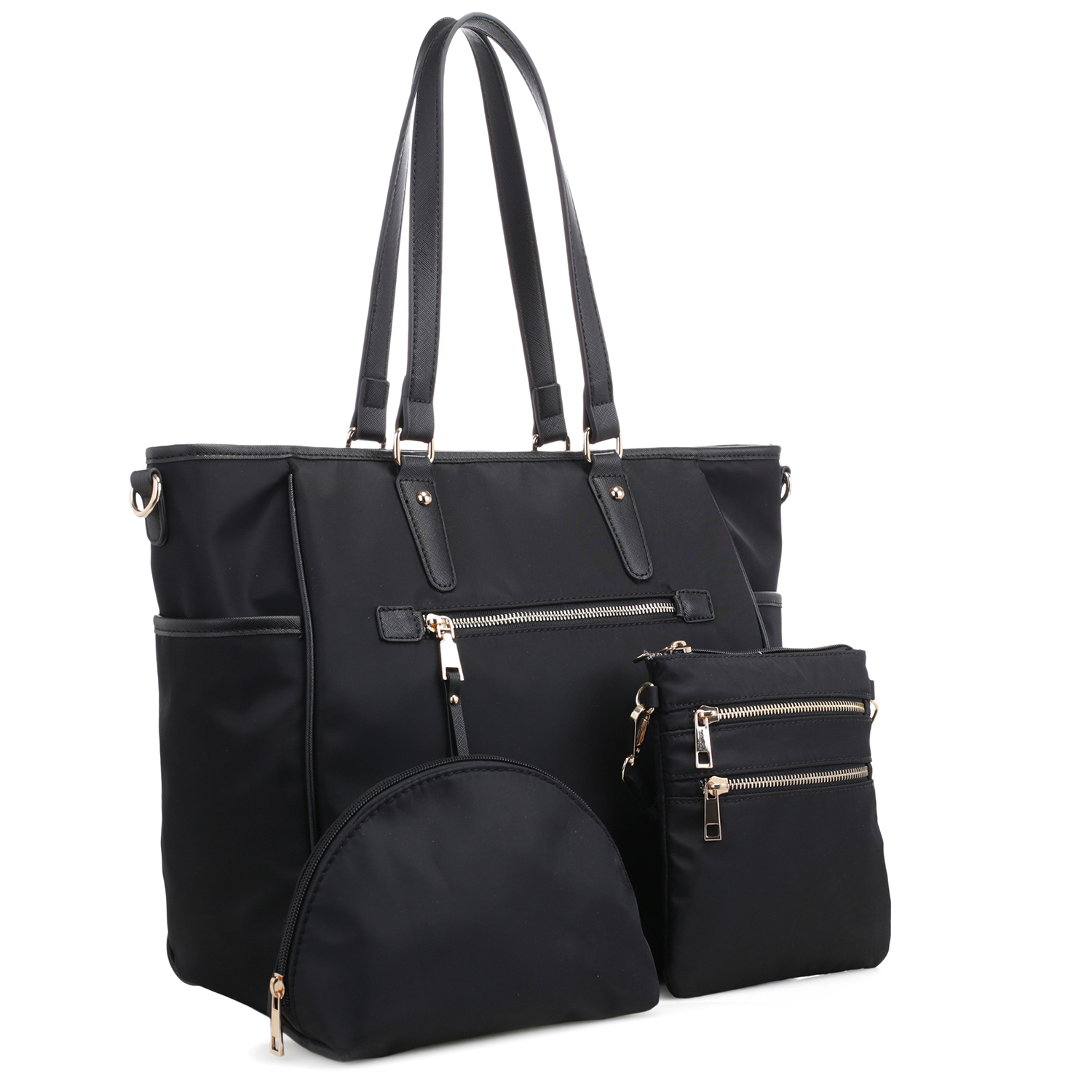 3-in-1 Large Classic Nylon Tote Set with Free Matching Mini Messenger Bag and Accessory Pouch