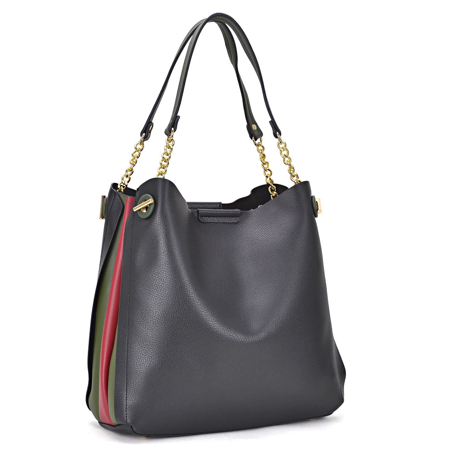 Faux Leather Satchel with double semi-chain anchor strap