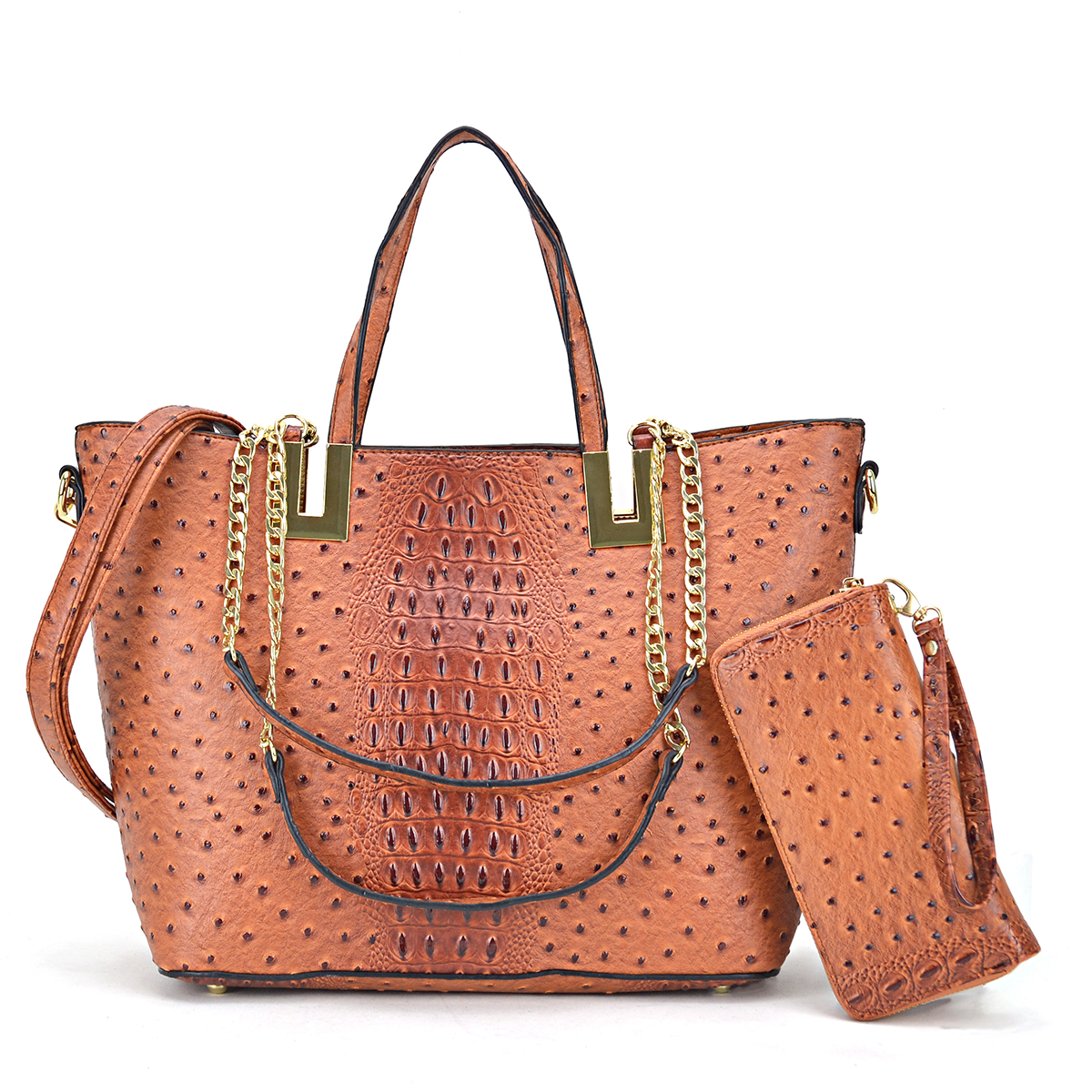 Ostrich embossed Large Classic Tote with Free Matching Wallet
