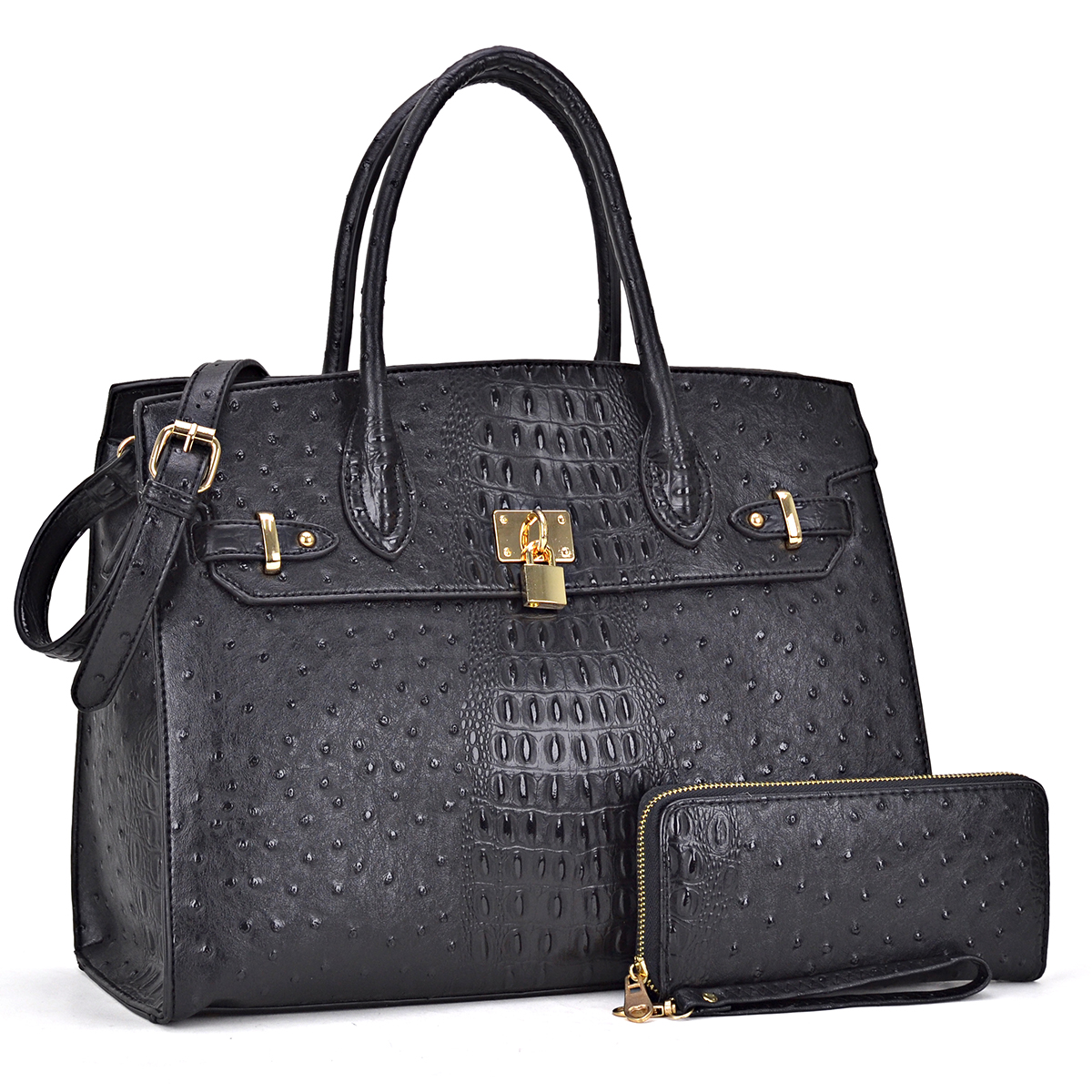 Ostrich embossed Large Satchel with padlock deco and with Free Matching Wallet