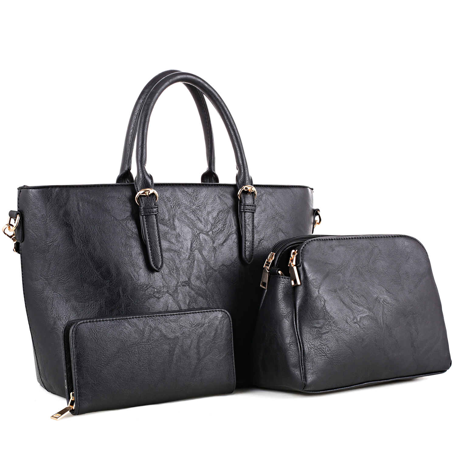 3-in-1 Large Classic Leather Tote Set with Free Matching Messenger Bag and Wallet