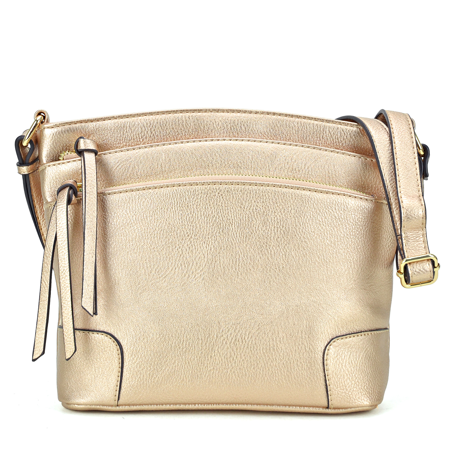 All-In-One Crossbody/ Messenger Bag with Double-zipped front compartment with decorative tassel pull