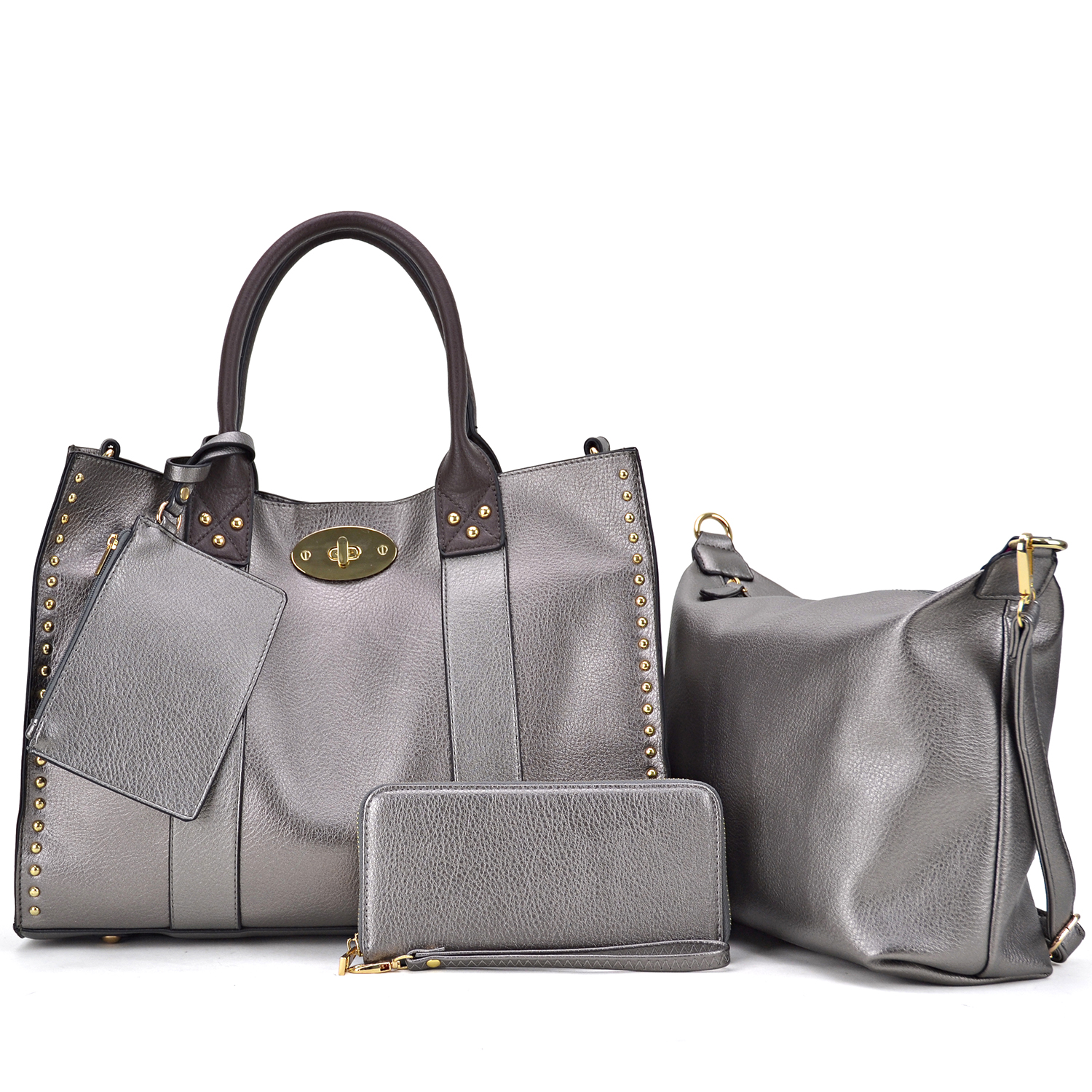 4-in-1 Large Studded Tote with Twist lock closure and a Detachable Organizer Bag/pouch and with Matching Wallet and wristlet