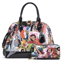 Michelle Obama Magazine Cover Printed Patent Leather Dome shaped Satchel with Matching wallet