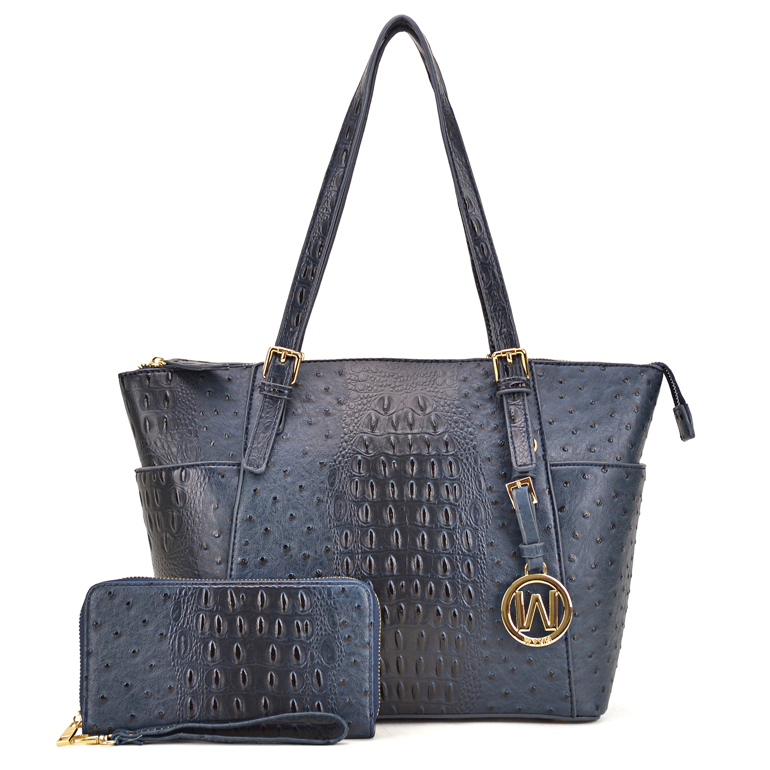Ostrich Embossed Tote with Dangling Emblem Logo Deco and with Matching wallet