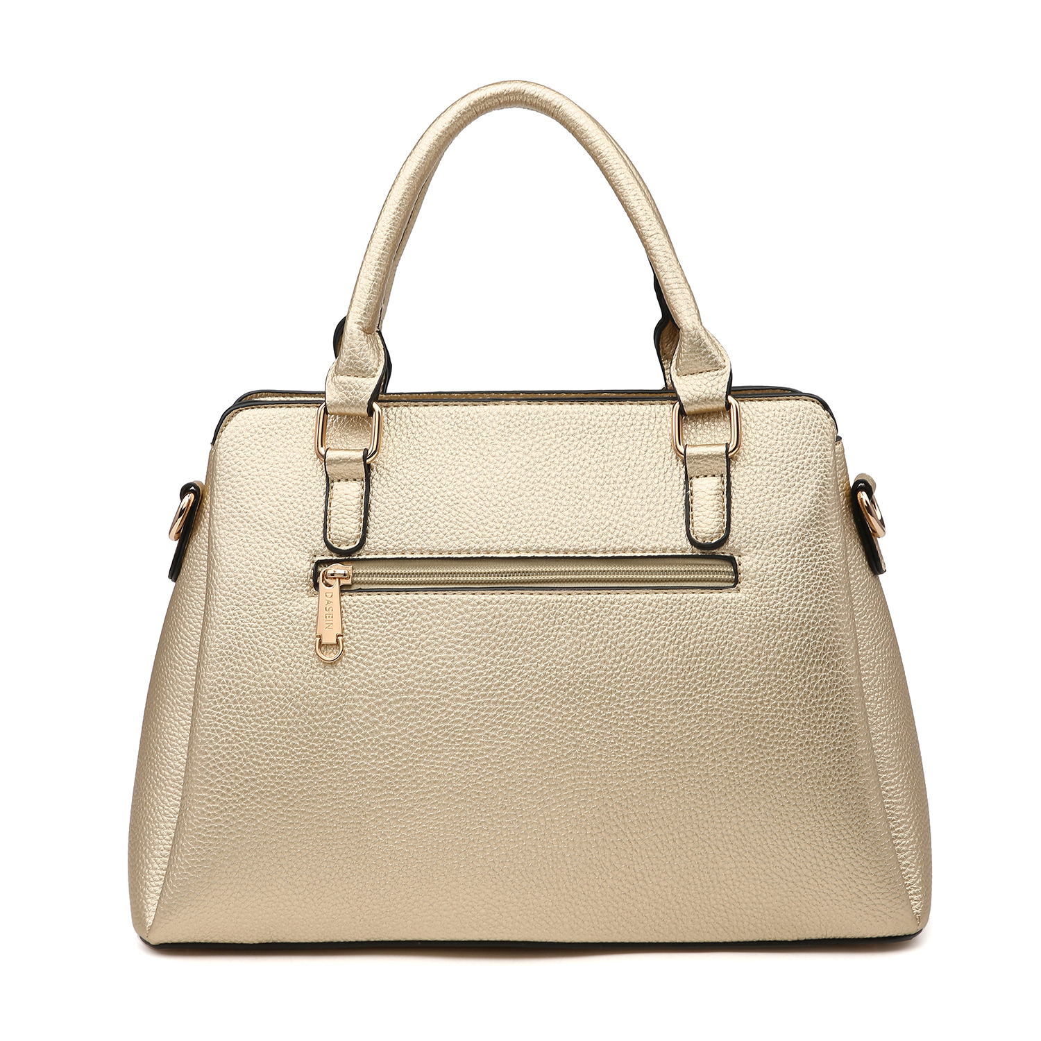 Dasein Two Tone Faux Leather Satchel with Matching Wallet