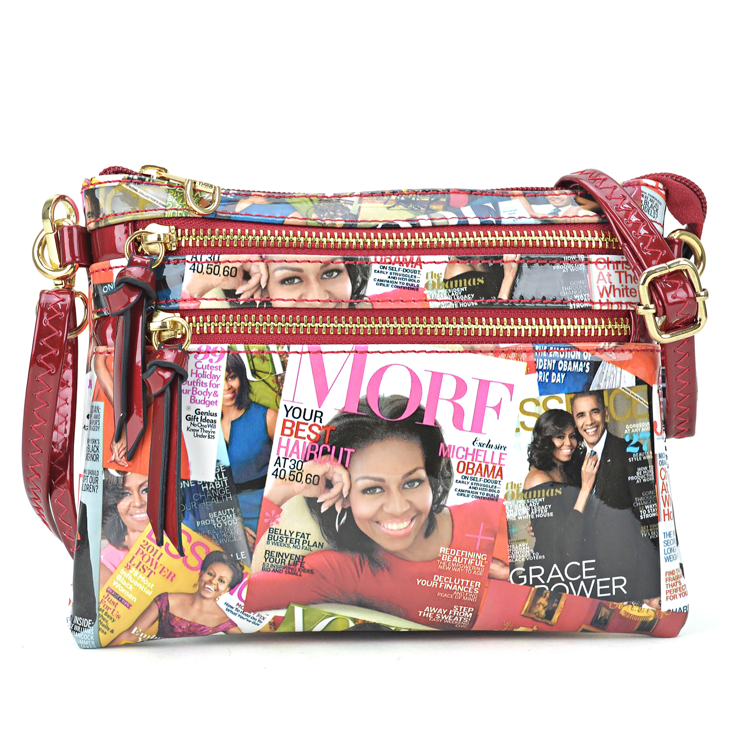 Michelle Obama Magazine Cover Printed Patent Leather All-In-One Crossbody/ Messenger Clutch Bag