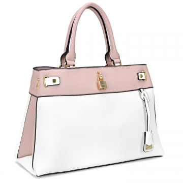 Dasein Two Tone Faux Leather Satchel with Padlock deco