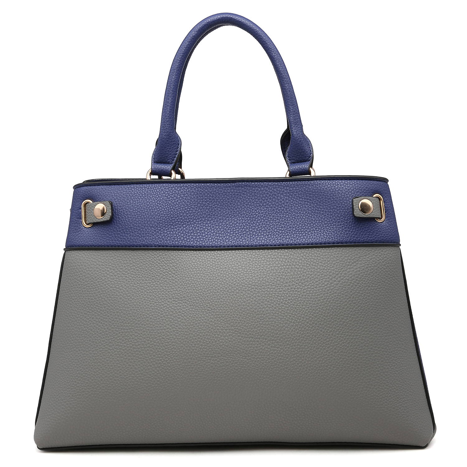 Dasein Two Tone Faux Leather Satchel with Padlock and with Matching Wallet
