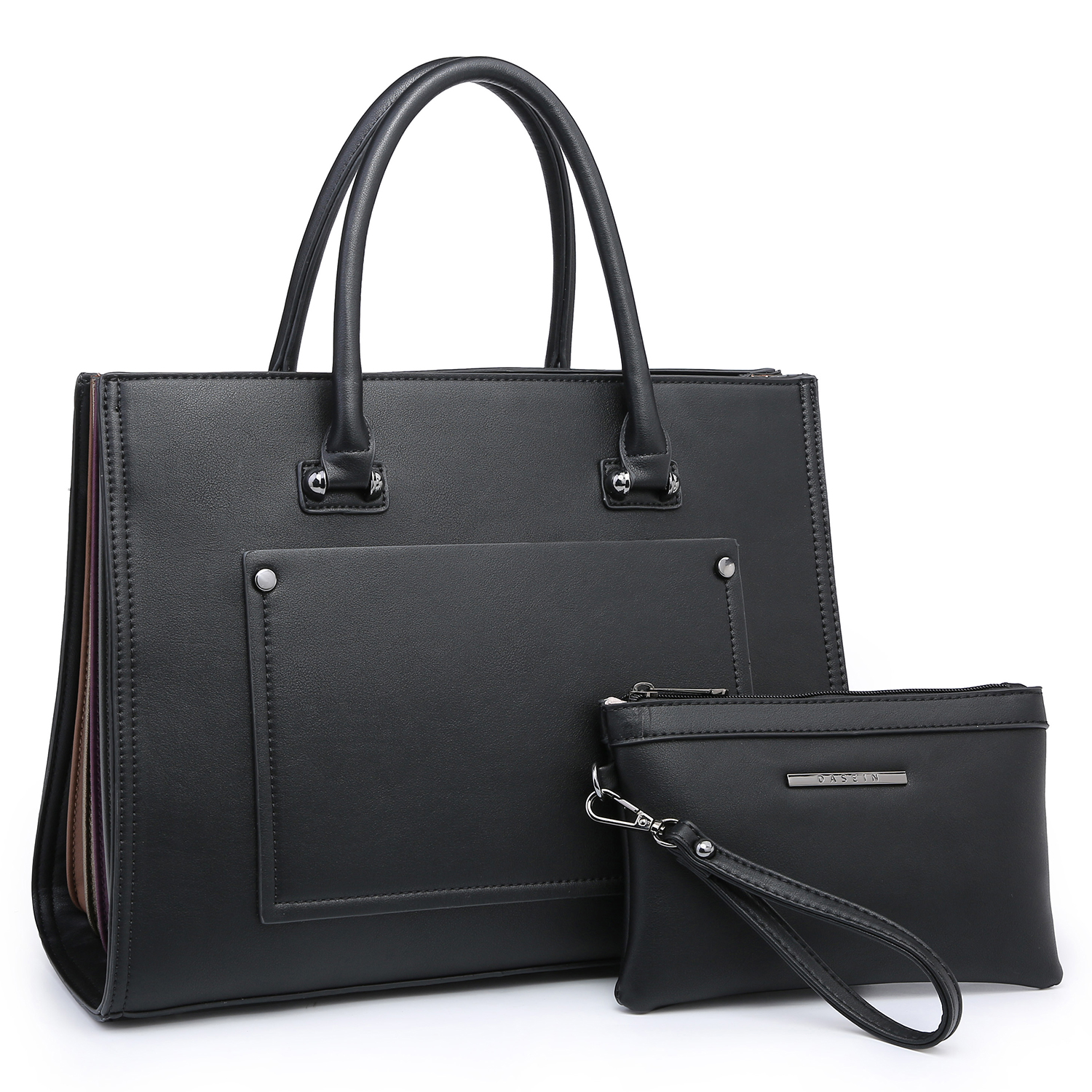 Dasein Faux Leather Briefcase Satchel with FanFold Multi color edge design on both sides and with Matching Accessory Pouch