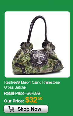 Realtree® Max-1 Camo Rhinestone Cross Satchel